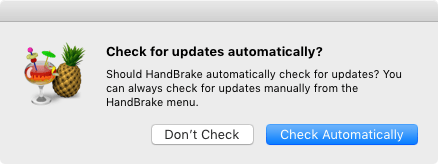 HandBrake Documentation — Checking for updates
