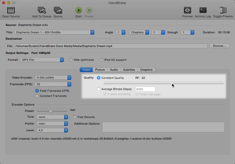 HandBrake Documentation — Adjusting quality
